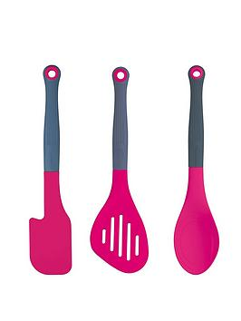 colourworks-colourworks-pink-kitchen-utensil-set-slotted-food-turner-kitchen-spoon-and-spatula-set-of-3