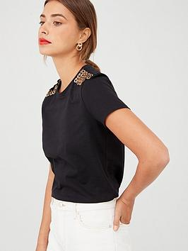V by Very V By Very Embellished Shoulder T-Shirt - Black Picture