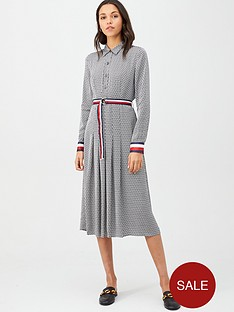 tommy-hilfiger-long-sleeve-demi-dress-blackwhite