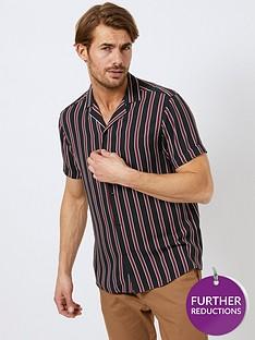 burton-menswear-london-burton-short-sleeve-stripe-shirt-blackburgundynbsp