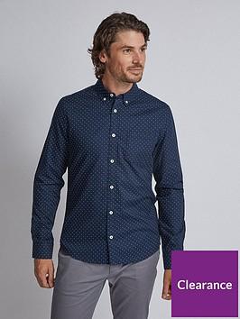 burton-menswear-london-burton-long-sleeve-dot-print-oxford-shirt-navy