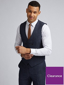 burton-menswear-london-burton-grindle-check-slim-suit-waistcoat-navy
