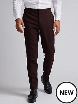 burton-menswear-london-gingham-slim-suit-trousers-burgundy