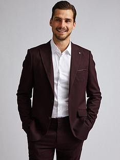 burton-menswear-london-burton-gingham-slim-suit-jacket-burgundy