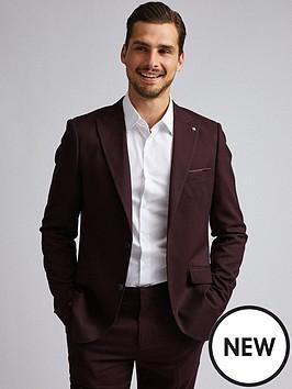 burton-menswear-london-burton-gingham-slim-suit-jacket-burgundy
