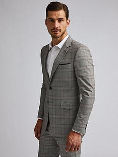burton-menswear-london-burton-retro-check-skinny-suit-jacket-greybrown