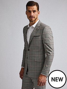 burton-menswear-london-burton-retro-check-skinny-suit-jacket-greybrown