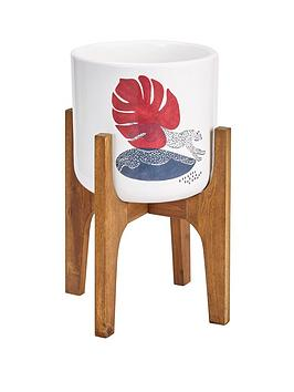 Very Wild Cat Patterned Pot On Wooden Legs Picture