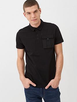V by Very V By Very Utility Pocket Polo Shirt - Black Picture