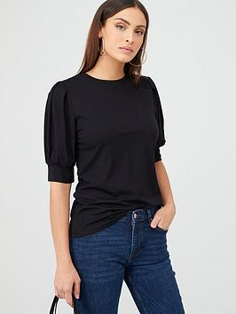V by Very V By Very Puff Sleeve T-Shirt - Black Picture