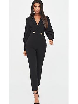 Lavish Alice   Button Detail Tux Jumpsuit - Black