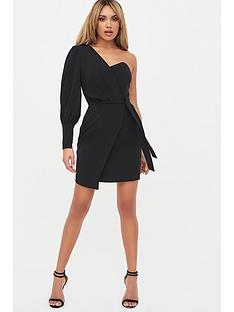 lavish-alice-puff-sleeve-wrap-dress-black