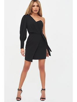 Lavish Alice Lavish Alice Puff Sleeve Wrap Dress - Black Picture