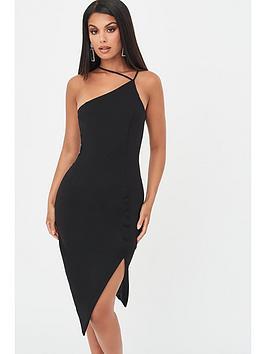 Lavish Alice Lavish Alice Strappy Asymmetric Split Side Dress - Black Picture