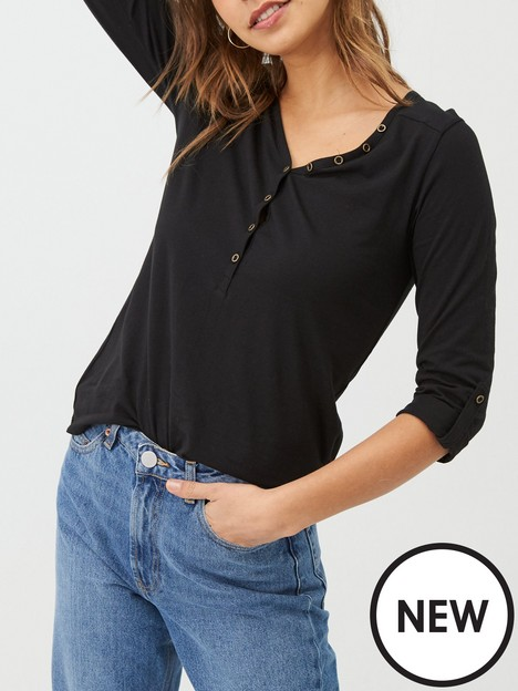 v-by-very-valuenbspthe-essential-34-henley-top-black