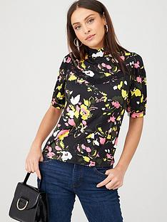 v-by-very-lace-trim-printed-top-floral-print