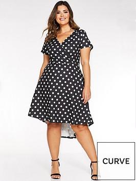 quiz-curve-curve-polka-dot-wrap-dip-hem-dress