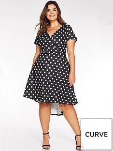 quiz-curve-polka-dot-wrap-dip-hem-dress