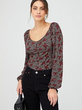 V by Very V By Very Ruched Long Sleeve Top - Multi Picture