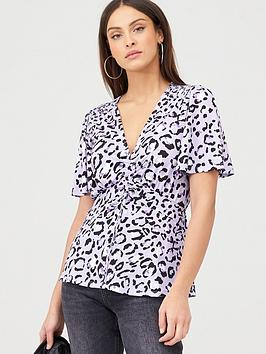V by Very V By Very Drawstring Ruched Top - Lilac Picture