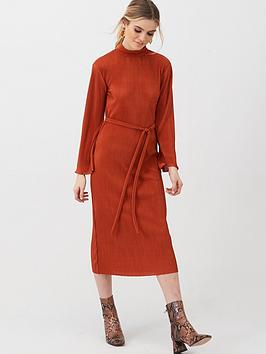 V by Very V By Very Slash Neck Plisse Midi Dress - Rust Picture