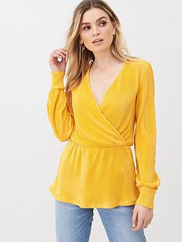 V by Very V By Very Plisse Wrap Top - Mustard Picture