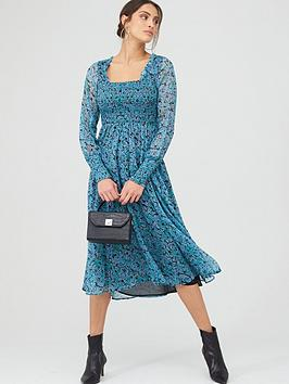 V by Very V By Very Woven Shirred Midi Dress &Ndash; Ditsy Floral Picture