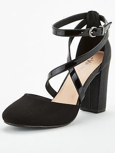 wallis-mix-material-cross-strap-round-toe-block-heels-black