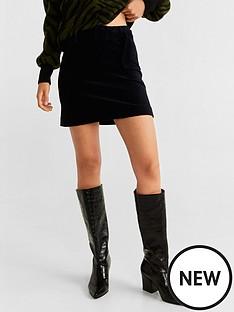 mango-belted-cord-skirt-black