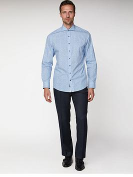 Jeff Banks  Rose Print Slim Fit Shirt - Blue