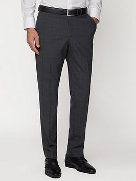 Jeff Banks   Windowpane Check Travel Suit Trousers In Regular Fit - Charcoal