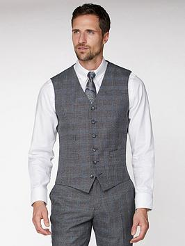 Jeff Banks    Jaspe Check Soho Waistcoat In Modern Regular Fit - Grey