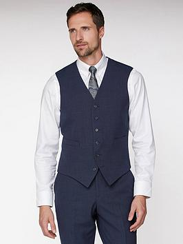 Jeff Banks    Texture Travel Waistcoat In Regular Fit - Navy