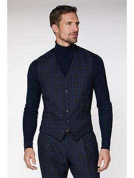 Jeff Banks    Jaspe Check Ivy League Waistcoat In Slim Fit - Blue