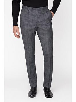 Jeff Banks    Check Ivy League Suit Trousers In Slim Fit - Grey