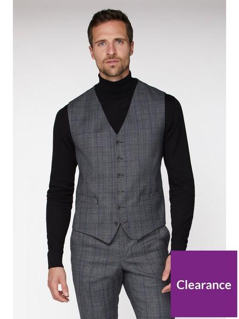 jeff-banks-jeff-banks-check-ivy-league-waistcoat-in-slim-fit-grey