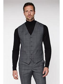Jeff Banks    Check Ivy League Waistcoat In Slim Fit - Grey