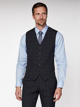 Jeff Banks   Check Brit Suit Waistcoat - Blue