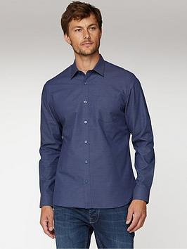 Jeff Banks  Micro Dobby Tailored Fit Shirt - Navy