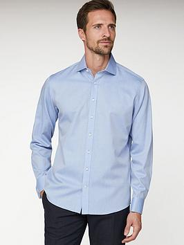 Jeff Banks Jeff Banks Jeff Banks Blue Herringbone Regular Fit Shirt Picture