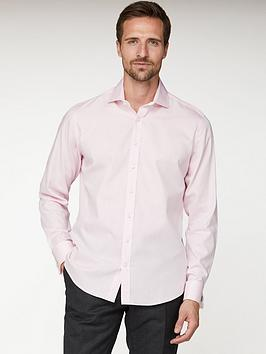 Jeff Banks Jeff Banks Jeff Banks Pink Herringbone Regular Fit Shirt Picture