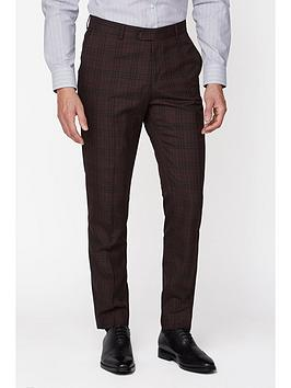 Jeff Banks    Bold Check Brit Suit Trousers In Super Slim Fit - Burgundy