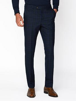 Jeff Banks    Jaspe Check Ivy League Suit Trousers In Slim Fit - Blue