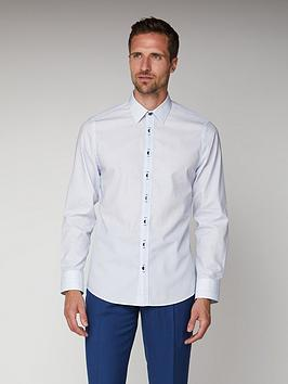 Jeff Banks Jeff Banks Jeff Banks White Square Dobby Slim Fit Shirt Picture