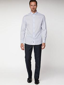 Jeff Banks End On End Stripe Tailored Fit Shirt - Lilac