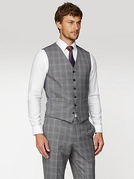 Jeff Banks   Mulberry Check Soho Waistcoat In Modern Regular Fit - Grey