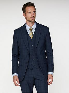 Jeff Banks Jeff Banks Check Soho Suit Jacket In Modern Regular Fit - Blue Picture