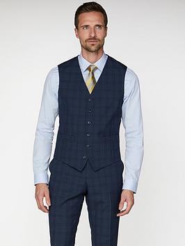 Jeff Banks   Check Soho Waistcoat In Modern Regular Fit - Blue