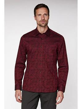 jeff-banks-jeff-banks-wine-floral-jacquard-tailored-fit-shirt