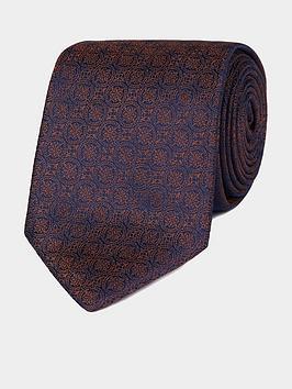 Jeff Banks Jeff Banks Jeff Banks Intricate Deco Silk Tie - Burnt Orange Picture